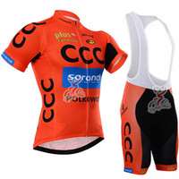 Wholesale Team Kit Wear - Pro Team CCC Cycling jersey Kit SPRANDI ORANGE COLOR Bike Jersey Bib Shorts with Gel pad Short Sleeve Bicycle wear maillot ciclismo C2004