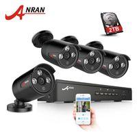 grabadora ip 8ch al por mayor-ANRAN Plug and Play 4CH NVR 48V POE Sistema de CCTV Onvif P2P 1080P HD H.264 IR Detección de movimiento Waterproot Seguridad al aire libre Cámara IP POE
