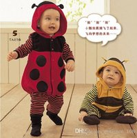 Wholesale ladybug bee - INS Baby kid long sleeve autumn spring cute cartoon ladybug and bee romper outwear boy and girl infant romper clothing