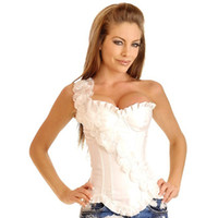 bir omuz iç çamaşırı toptan satış-Sıcak Kek Moda Büstiyer Kadın Lingerie Zayıflama Vücut Şekillendirici Kauçuk Kemikleri Lace up Bir Omuz Korse Elbise Korseler Giysi 0806