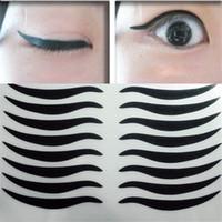 grandes olhos compõem venda por atacado-Atacado-8 Par 2016 Hot Lady Black Eyelid Paste Cat Linha Eye Tattoo Tape Maquiagem Duplo delineador Paste Tiras para Big Eyes Party Make-up