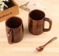 Wholesale Home Bottled Water - Eco-friendly 400ml Classical Wooden Beer Tea Coffee Cup Mug Water Bottle Heatproof Home Office Party Drinkware