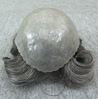 Wholesale Men Hair Toupee - Grey Hair Men Thin Skin Toupee Natural Looking Indian Remy Hair Clear Poly Back Human Men Hair