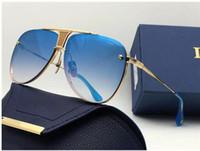 orijinal paket güneş gözlüğü toptan satış-Kararını iki sınırlı sayıda lüks pilotlar ince metal yeni tasarımcılar klasik moda bayan marka güneş gözlüğü orijinal ambalaj uv400