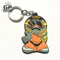 Wholesale Mini Racing Motorcycle - New 2016 Mini KTM Racing Driver Model Keyring 3D Rubber Motorcycle Motocross Keychain Emblem For KTM 990 690 SMC SM R Super Duke