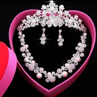 Wholesale Cheap Fashion Earrings Free Shipping - Fashion Bling Bridal Jewelry Rhinestone Pearl Necklace Crown Earrings Wedding Dresses Cheap Free Shipping Wedding Accessories Three Pieces