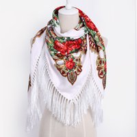 Wholesale White Cotton Square Scarf - Luxury Brand for Woman Print Scarf Russian Ethnic Style Cotton Flower Pattern Tassel Winter Warm Square Blanket Scarf Shawl