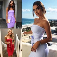 Wholesale Night Clothes For Women - Sexy New Fashion Party Dresses for Women Strapless Sheath Knee Length Summer Casual Clothes with Belt FS1972