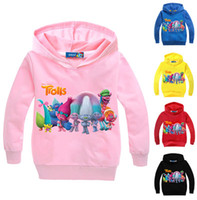 Wholesale Girls Hoodie Tshirt - New 2-12Year girls hoodies trolls sweatshirt hoodies kids hoodies boys girls clothes long sleeves tshirt children down coat