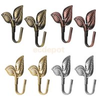 Wholesale wall hat holder - 2Pcs Leaf Curtain Drapery Tiebacks Door Wall Hat Hooks Holder Hanger Home Decor