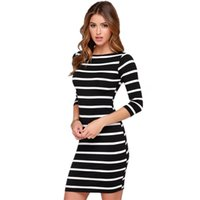 Wholesale Half Sleeve Womens Summer Dress - summer dresses for womens Fashion dress clothes white black Stripes Half Sleeve Knee Length Casual Off the Shoulder Pencil Dresses LYQ61 RF