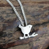 Wholesale Bird Pendant 925 - 5pcs lot Fashion Hot Real 925 Sterling Silver Elegant Lovely Matte Bird on the Branch Pendant Necklace Sterling Silver Jewelry