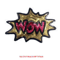 20pcs wow clothes - 20pcs Wow Sequins Patch For Clothing Letters Patches Jacket parches ropa Embroidered Dress Fabric Patchwork Garment Stage Badge Appliques