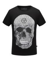 Wholesale Brand Designer Tshirts - 2017 new style Tide brand men's Tshirts Hot drilling and printing Designer Men T-shirts Stretch cotton top quality Skull printing free ship