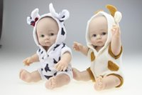 Wholesale Dolls Baby Clothes - 25cm Mini Full Silicone Reborn Baby Doll Lovely Sheep Clothing Can Enter into Water