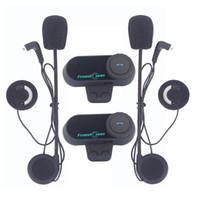 Wholesale Motorcycle Helmet Stereo Headphones - FreedConn 2Pcs Set Motorcycle Bluetooth Helmet Interphone Stereo HandFree Headphone Waterproof 1000m BT Wireless Helmets Intercom Headsets