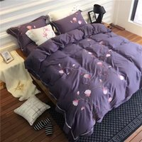 Wholesale King Size Bedding Collections - 2017 New Solid Color Embroidery Bedding Sets 120S Egyptian Long-staple Cotton 4PCS Bedding Very Beautiful Home Collection Queen King Size