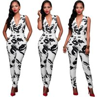 Wholesale Chinese Jumpsuits - Wholesale- Women Deep V Neck Bodysuit Sleeveless Sexy Jumpsuit Chinese Style Black Printing New Sexy Women Romper Trousers Clubwear