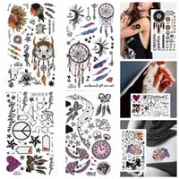 Wholesale Tattoos Colorful Sleeves - King Horse different colorful dream catcher Waterproof tattoos 17X10CM Arm Tattoo Sleeve Flash Temporary Tattoo Sticker