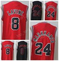 Wholesale New Style Fan - 2017 New Style 8 Zach LaVine Jersey Men Black White Red Basketball 24 Lauri Markkanen Jerseys For Sport Fans All Stitched High Quality