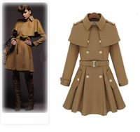 Wholesale Camel Coat Lapel - 2017 New Winter ladies office coat Camel Blue Hooded Poncho Cape Coat Women Cloak manteau femme high quality