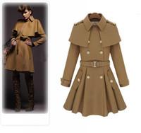 Wholesale Camel Poncho Coat - 2016 New Winter long coat women Camel Blue Hooded Poncho Cape Coat Women Cloak manteau femme high quality