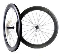Wholesale light road bike wheels for sale - 700C mm depth road carbon wheels mm width Tubular clincher Road bike carbon wheelset UD matte finish velosa light decal