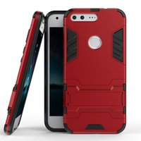 Wholesale Google Robots - 50pcs wholesale Shockproof Robot Armor Hybrid Rugged Rubber Shell Slim Hard Back Stand phone Case Cover for Google Pixel for Google Pixel XL