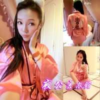 Wholesale Angels Pajamas - Wholesale- 2017 imitation Satin peach pink bathrobe Nightgown sexy angel wings Rhinestone Wrap Robe women's pajamas belt