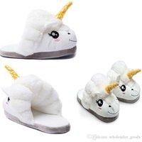 Wholesale Mens Winter Warm Slippers - Womens Slippers Mens White Winter Warmer Indoor Soft Slipper Unicorn Plush Slippers Anti-Slip Adult Animal Slippers