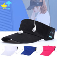 Wholesale S Headphones Blue - Wireless Bluetooth Headphone Hat 2 in1 Headset MenaBluetooth S Female Outdoor Sports Music cap style headphone for xiaomi iphone mobilephone