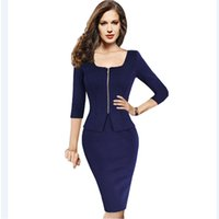 Wholesale Women Outfit Business - Womens Spring Autumn Fashion Pinup Vintage Front Zipper Outfit Half Sleeve Elegant Solid Colors Ladies Office Business Dress 898