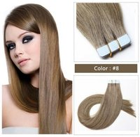 Wholesale Ash Brown Extensions - Doozy 7A ash brown tape hair extensions 16-28 inches 2.5g strand color #8 PU skin weft Brazilian remy tape in human hair extensions
