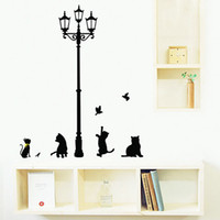 Wholesale Wall Cat Stickers - Black Cat Under Street Lamp Home Stickers Cartoon Design Picture Art Peel & Stick Pvc Wall Stickers DIY Vinyl Wall Decal
