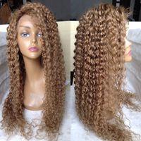 yapışkan olmayan tam dantelli peruk sarışınları toptan satış-Bal Sarışın Siyah Kadınlar Için Brezilyalı Tam Dantel İnsan Saç Peruk sarışın Kinky Kıvırcık Tutkalsız Dantel Ön Peruk Bebek Saç Ile