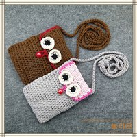 Barato Bolsa Crossbody Iphone-Crochet Cellphone Pouch Tote Purse Handmade Bag Small Caera Carrier com Crossbody Strape para iPhone Universal