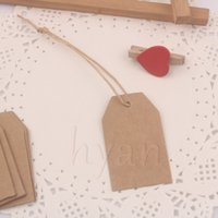 Wholesale Strung Price Tags Wholesale - Blank Kraft Garment Tags, Trapezoid Price Tags with Paper Strings, 3*5cm, DIY Paper Bookmarker, 600pcs lot