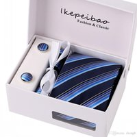 Wholesale Ties Set Boxes - Ikepeibao Classic Blue Necktie Tie Set Handerchief Cufflinks Polyester Striped 8cm w Gift Box Packing for Mens formal business
