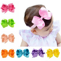 Wholesale Toddler Headbands Big Flowers - Baby Girls Big Bow Headbands 6 Inch Grosgrain Ribbon Boutique Bows Flowers Headband Infant Toddler Elastic Hairbands Hair Accessories