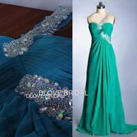 Wholesale Green Chiffon One Shoulder Dress - Real Photo A Line One Shoulder Chiffon Evening Dresses Crystal Beaded Floor Length Backless Teal Green Hunter Coral Special Occassion Gown