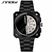 Wholesale Sinobi Stainless Steel Black - SINOBI Mens casual Watches Men Sport Black Stainless Steel Quartz Watch Gents Tungsten Business Wristwatch male clock hours gift