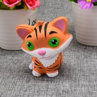 Wholesale Doll Phone Charms - New Arrivals 10CM Jumbo Animal Kawaii Squishy Tiger Doll Bread Squeeze Slow Rising Phone straps Soft Scented Cake Toys Gift