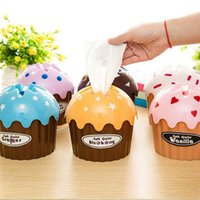 Wholesale Tissue Paper Plastic Cover - Wholesale-New High Quality Lovely Adorable HOT Ice Cream Cupcake Tissue Box Towel Holder Paper Container Dispenser Cover Home Decor#S366