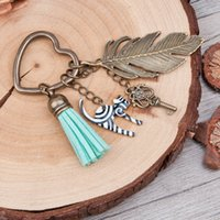 Wholesale Ring Box Antique - Doreen Box Antique Bronze Key Chains&Key Rings vintage feather heart Key Pendant Stripe Cat Tassel Pendants Mint Green Keychain