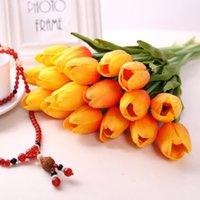 tulipas roxas artificiais venda por atacado-Tulipas artificiais 34 cm PU Real Toque Artificial Bouquet Flores Para Decoração de Casa de Casamento Flores Decorativas branco vermelho amarelo rosa roxo