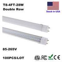 Wholesale Fluorescent Bulbs T8 - LED Bulbs Tubes 4 Feet FT 4ft LED Tube 18W 22W T8 Fluorescent Light 6500K Cold White Factory Wholesale 28W Double Row LEDs