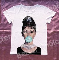 Wholesale Ladies Diamond Shirt - Track Ship+Vintage Retro Good Feeling T-shirt Top Tee Diamond Elegant Lady Hepburn with Blue Bubble in Mouth 0473