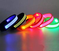 Wholesale Led Reflective Safety Red - New LED Safety Reflective Light Shine Flash Glowing Luminous Armband Arm Belt Band Hand Strap Wristband Wrist Bracelets
