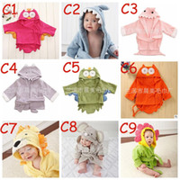 Wholesale Wholesale Terry Bathrobes - Kids Animal Bathrobe Toddler Girl Boy Baby Cartoon Pattern Towel Hooded Bath Towel Terry Wrap Bath Robes 18 styles TOP1540