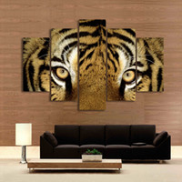 Wholesale tiger print bedroom - 5 Panel Painting Tiger Painting Canvas Art Prints Animal Wall Pictures for Living Room Bedroom Home Decoration Unframed